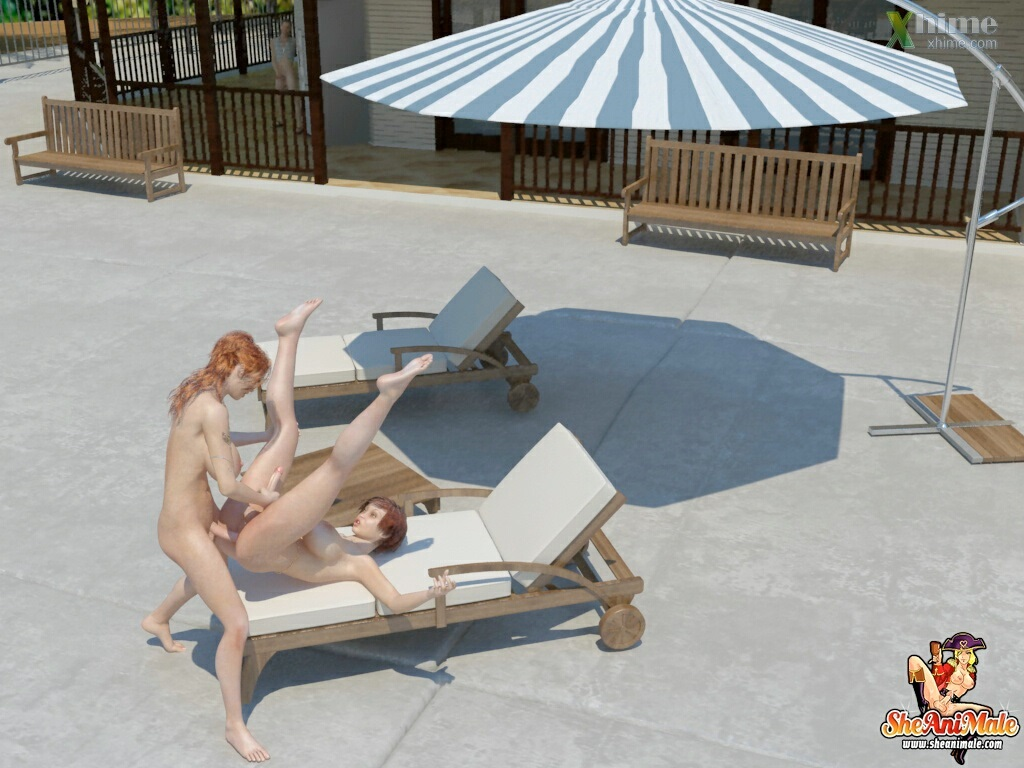 Poolside Shemale Fuck - Sheanimale Adult Porn Comix